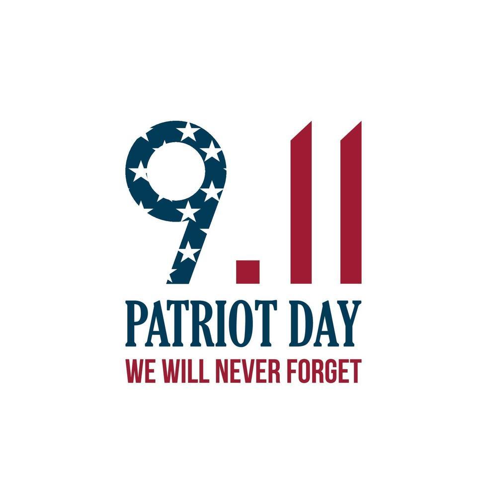 911 patriot day card. non lo dimenticheremo mai. vettore
