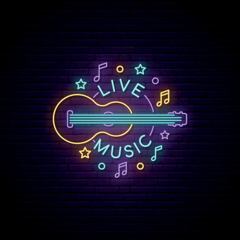 segno di musica dal vivo al neon. insegna luminosa con chitarra e iscrizione di musica dal vivo. vettore