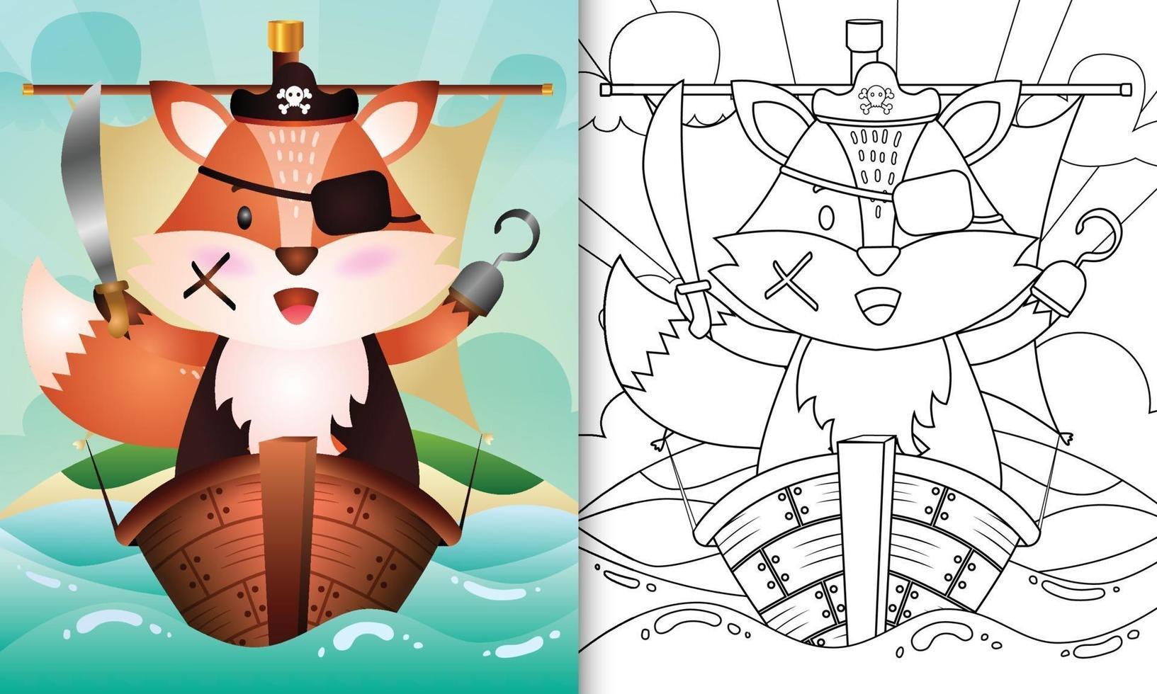 libro da colorare per bambini con un simpatico personaggio di volpe pirata vettore