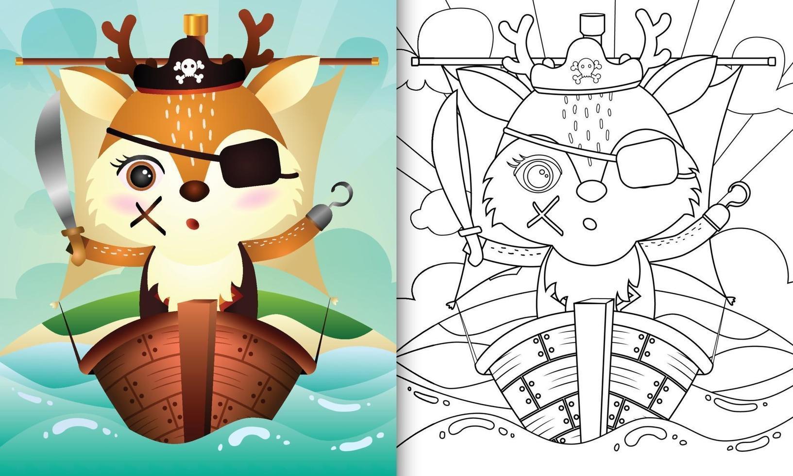 libro da colorare per bambini con un simpatico personaggio di cervo pirata illustrazione vettore