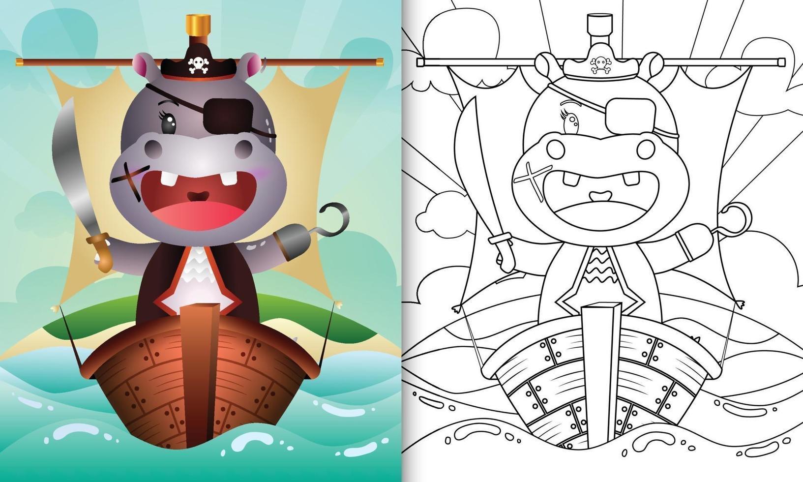 libro da colorare per bambini con un simpatico ippopotamo pirata illustrazione sulla nave vettore