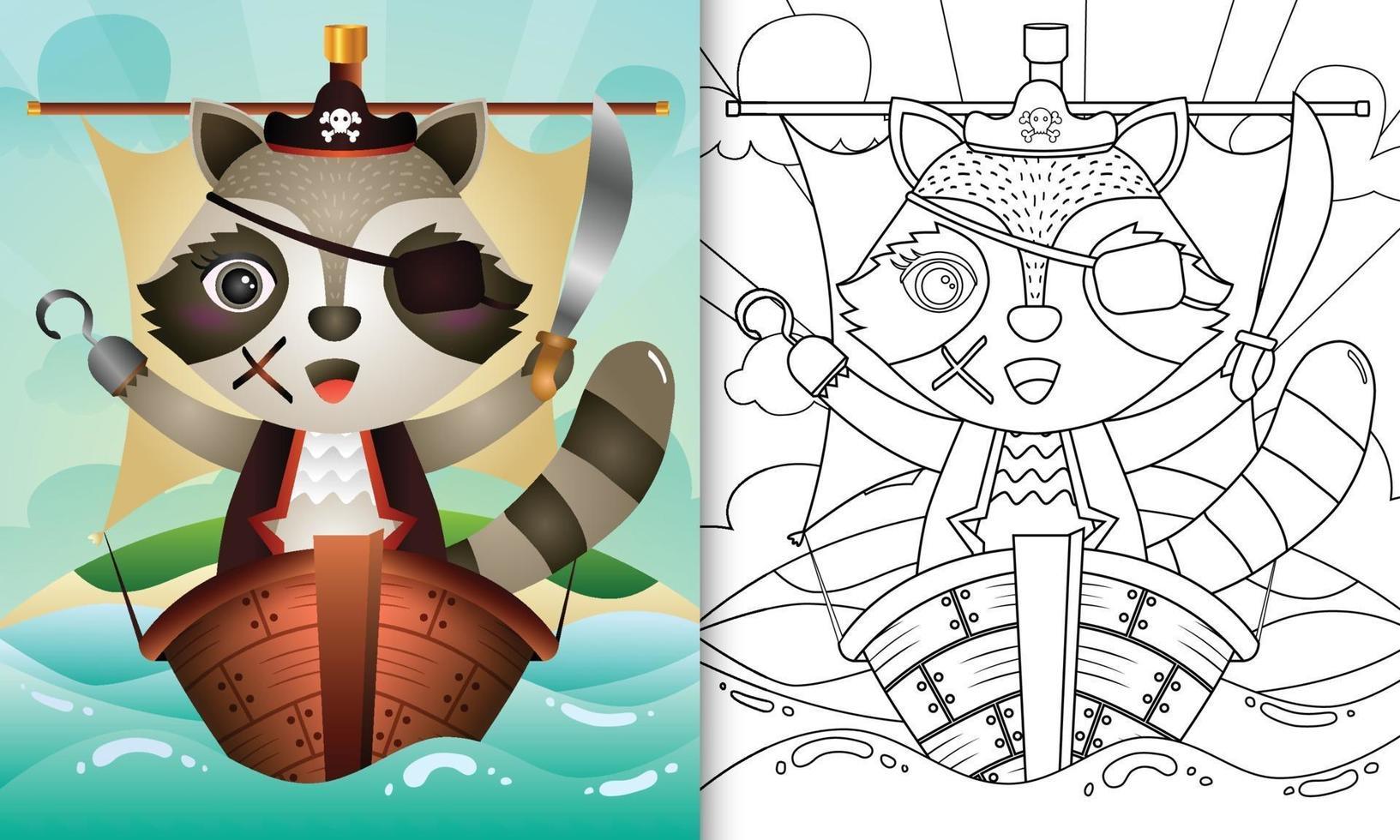 libro da colorare per bambini con un simpatico personaggio di procione pirata vettore