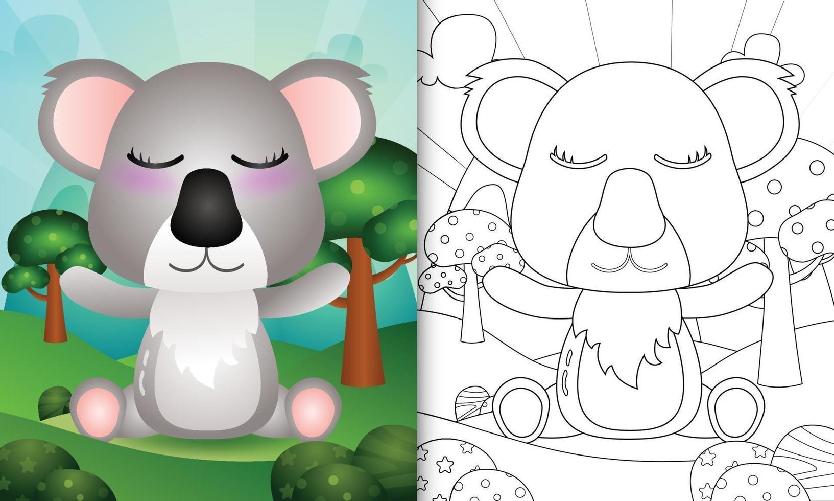 libro da colorare per bambini con un simpatico personaggio koala vettore