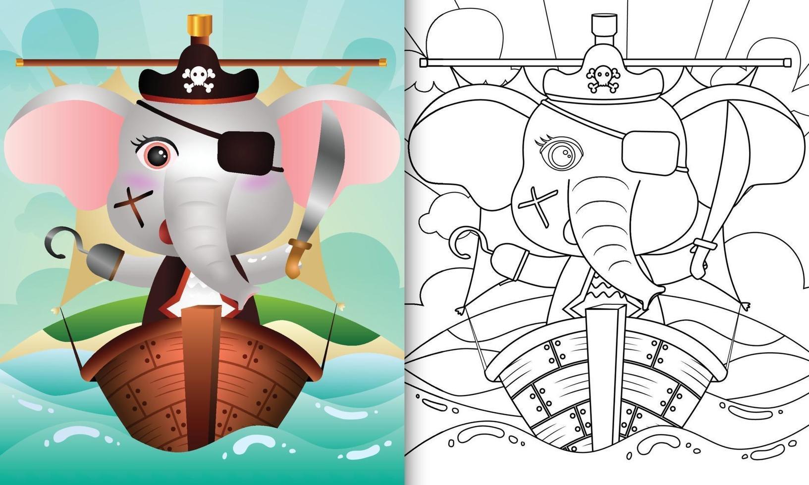 libro da colorare per bambini con un simpatico elefante pirata illustrazione del personaggio vettore
