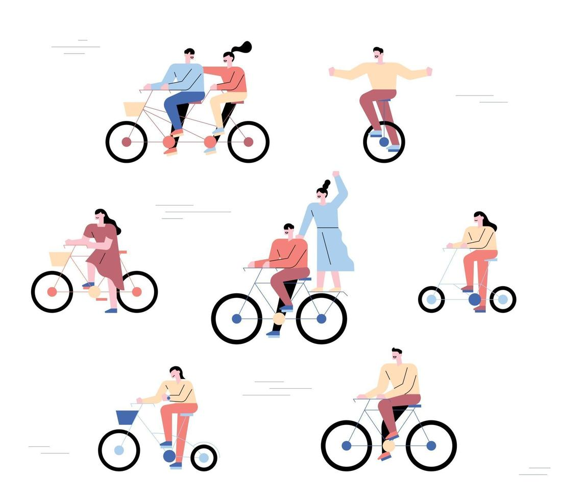 persone che vanno in bicicletta. una collezione di motociclisti in una forma semplice. vettore