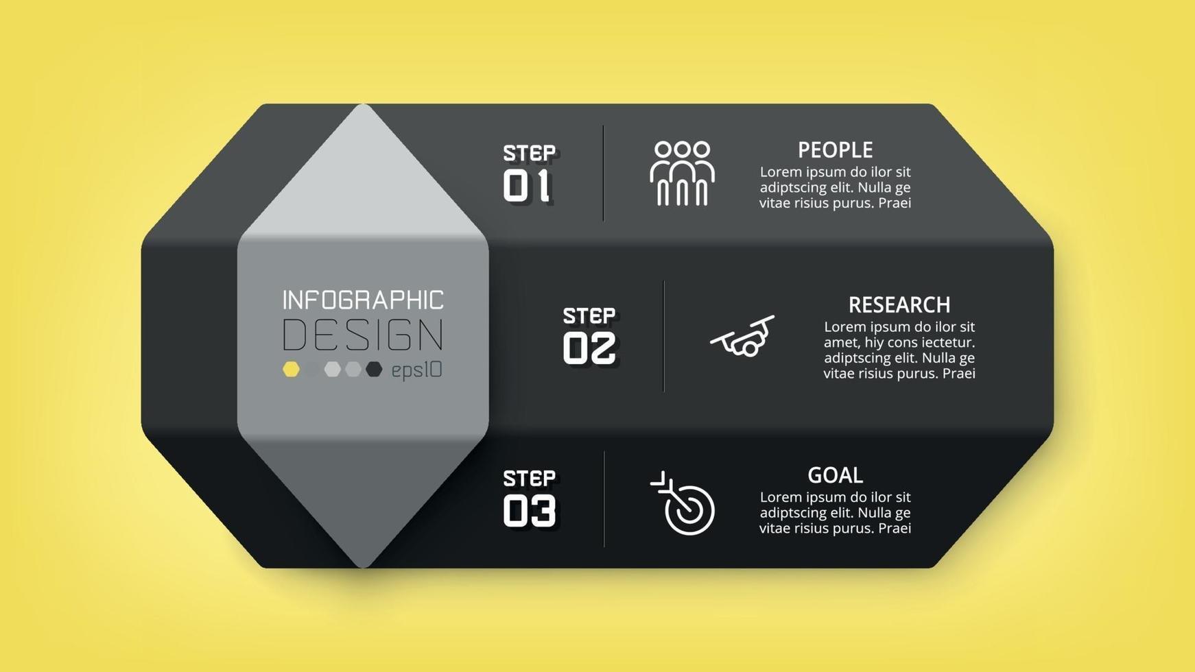 infografica design esagonale. può essere utilizzato per presentare un piano, pianificare il lavoro. vettore