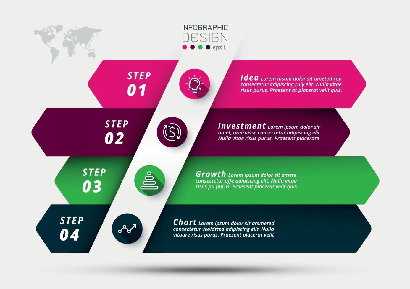 pianificazione aziendale o marketing e analisi della crescita del business e degli investimenti in vari campi con il segno della freccia. vettore