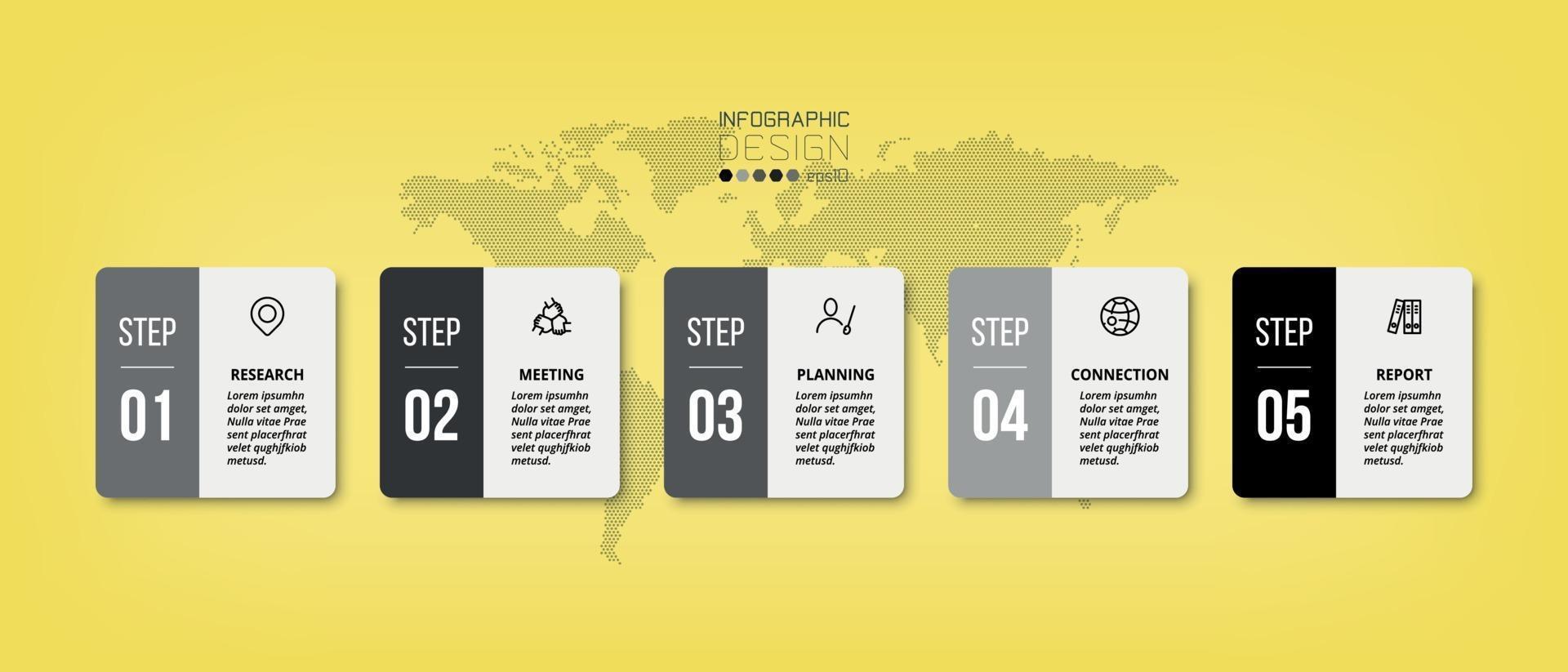 design quadrato, 5 flussi di lavoro. può essere utilizzato per pianificare il lavoro, presentare i risultati e riportare i risultati relativi al business o al marketing. vettore