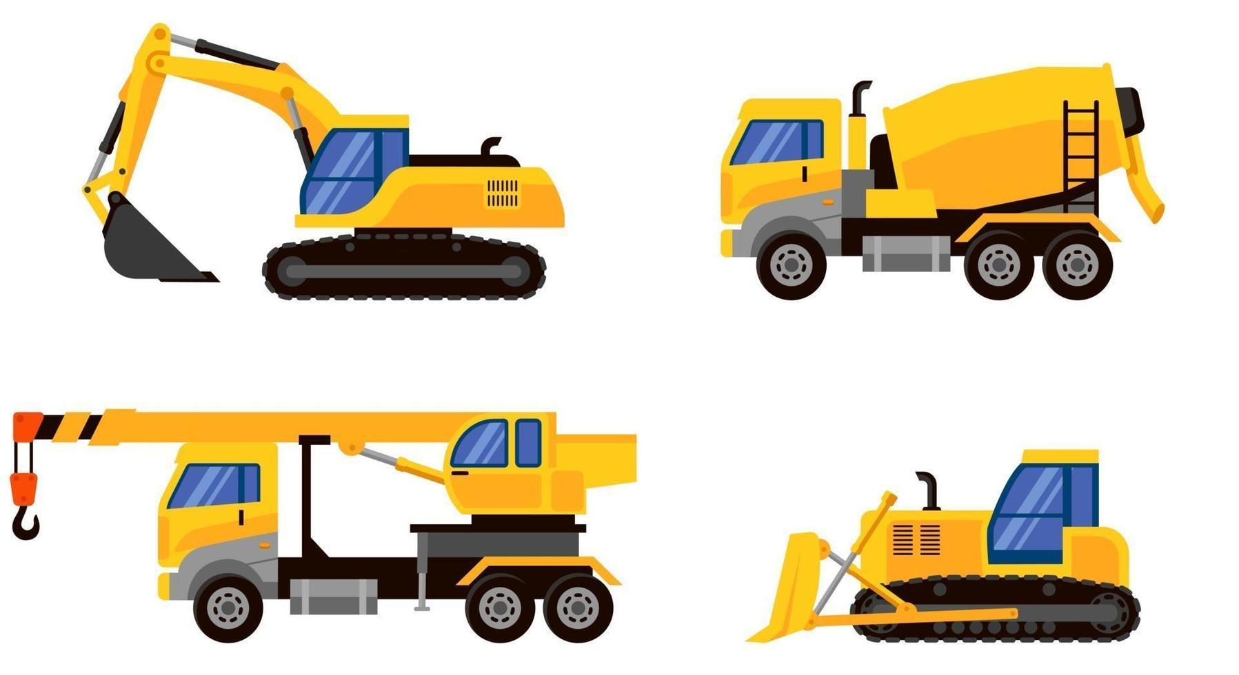 diversi tipi di vista laterale di macchinari pesanti. vettore