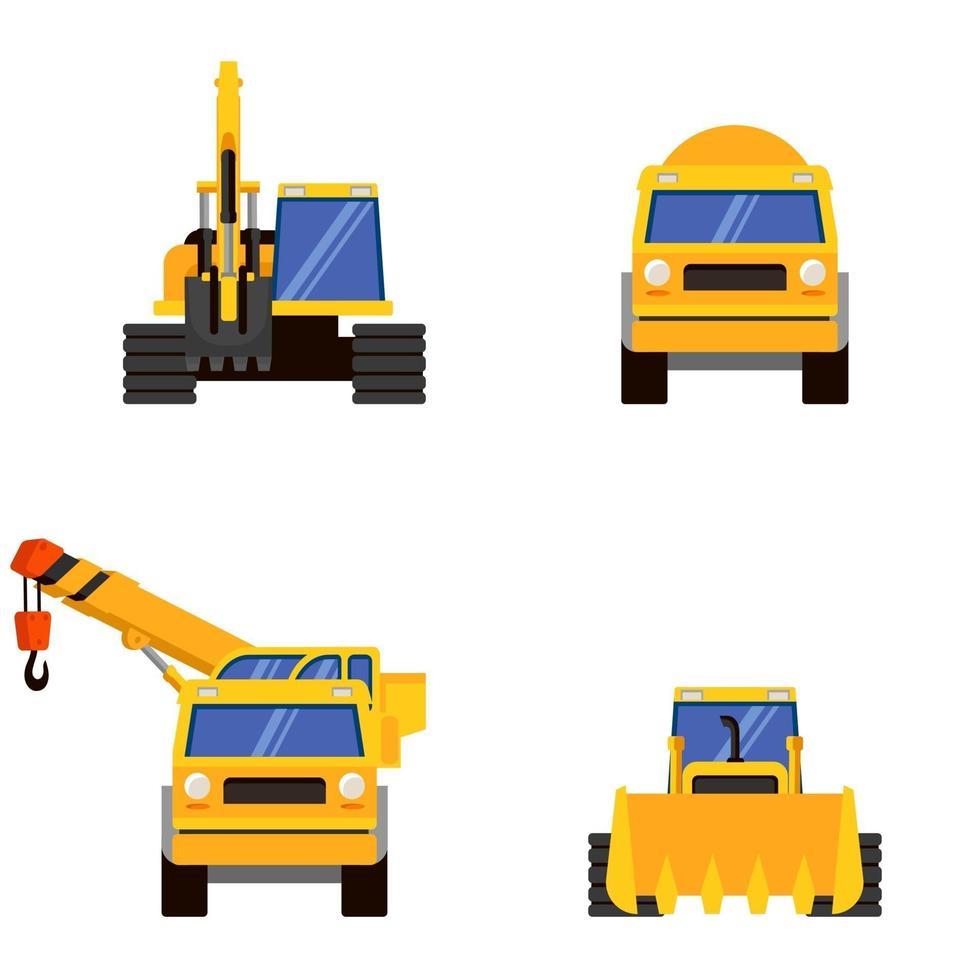 diversi tipi di vista frontale di macchinari pesanti. vettore