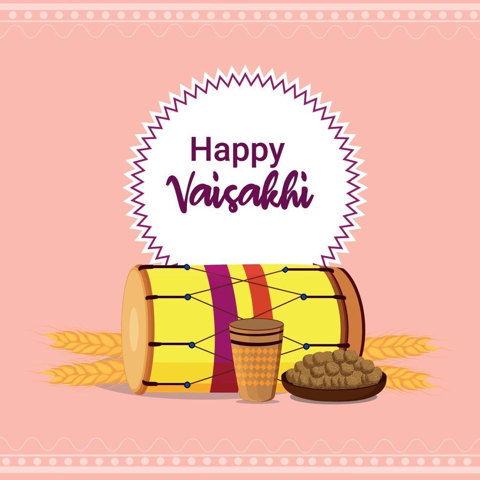 felice celebrazione del design piatto vaisakhi vettore
