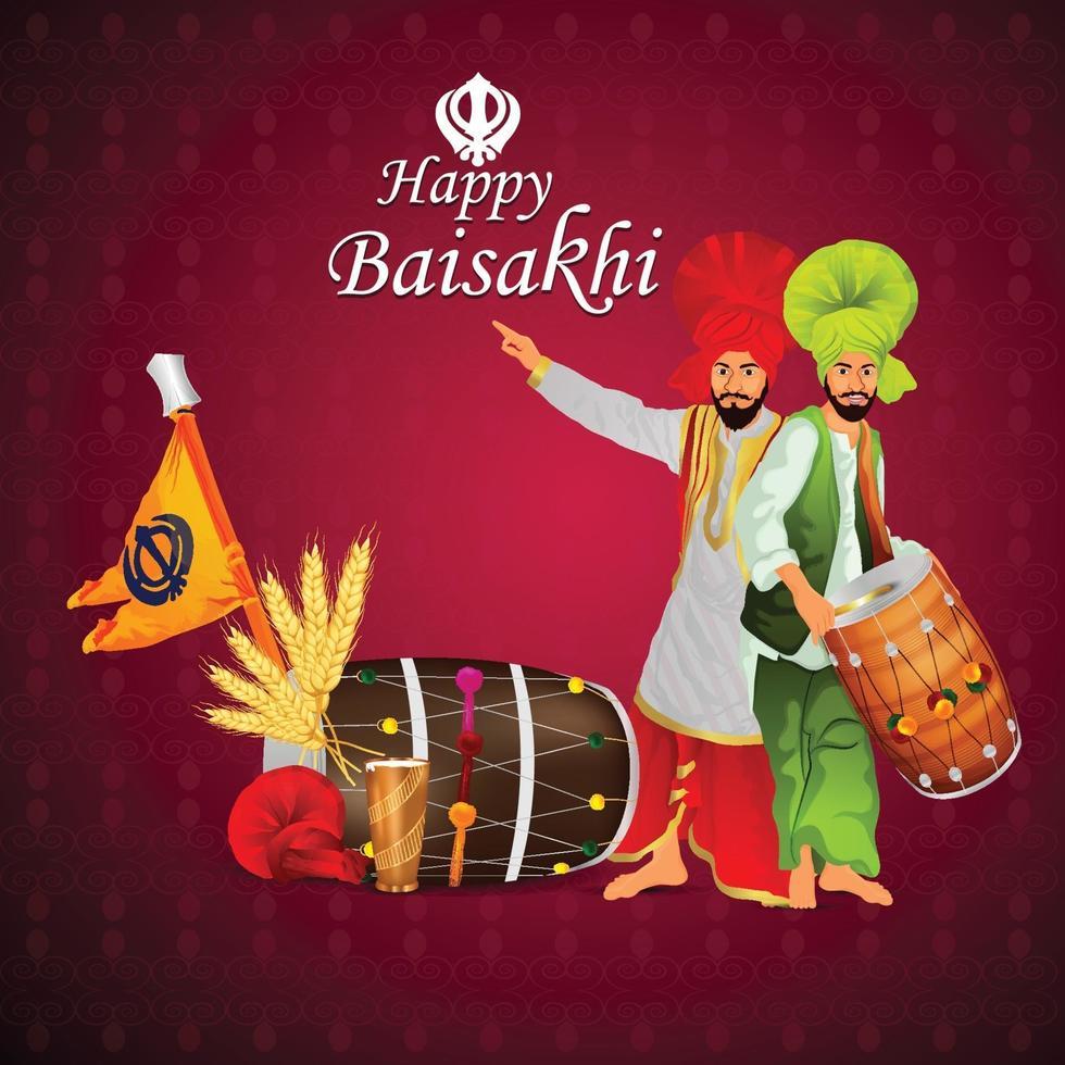 illustrazione creativa di sfondo felice celebrazione vaisakhi vettore