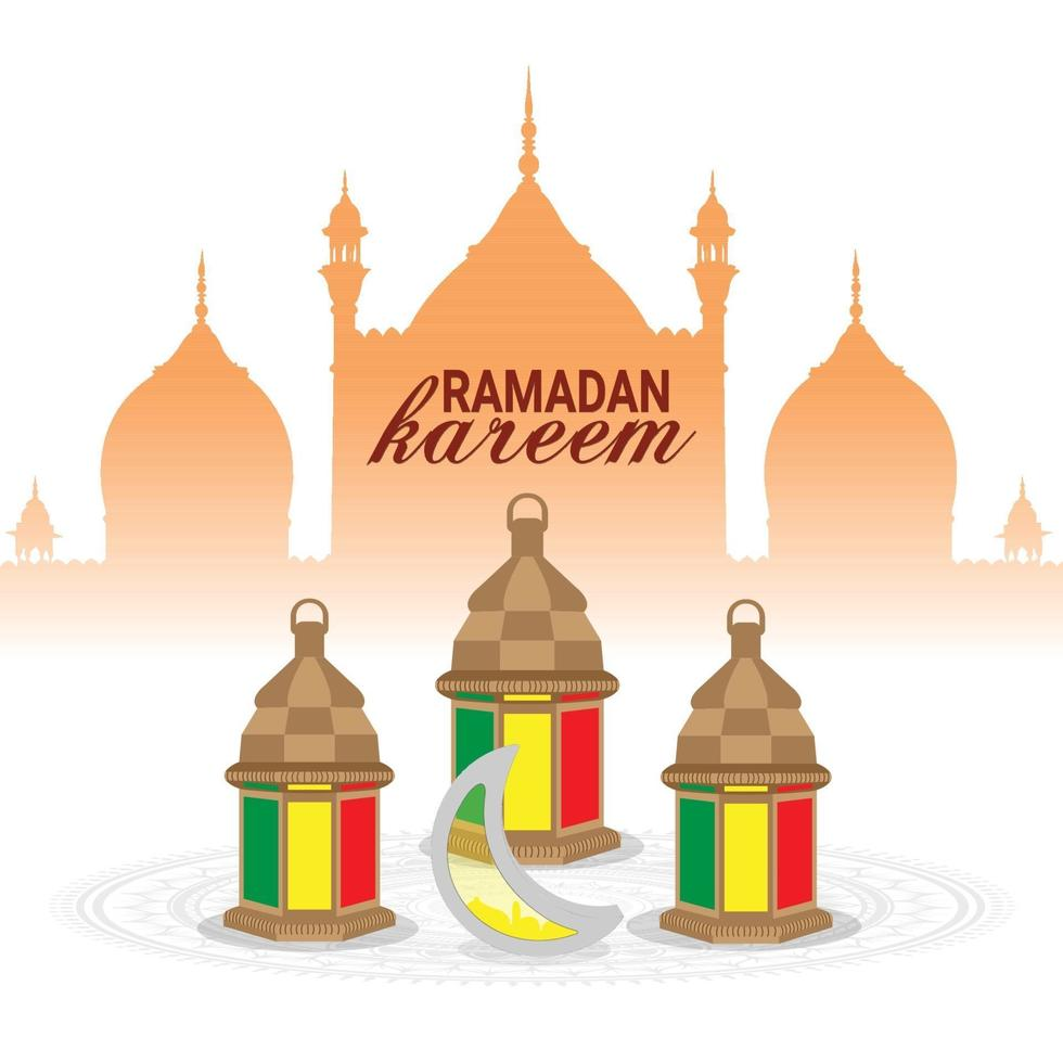 biglietto di auguri ramadan kareem o eid mubarak vettore