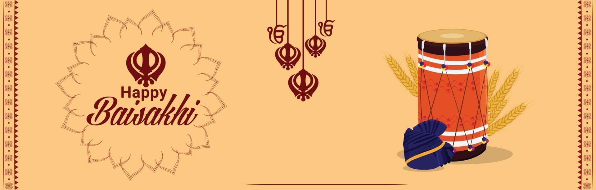 banner di celebrazione del festival sikh indiano vaisakhi vettore