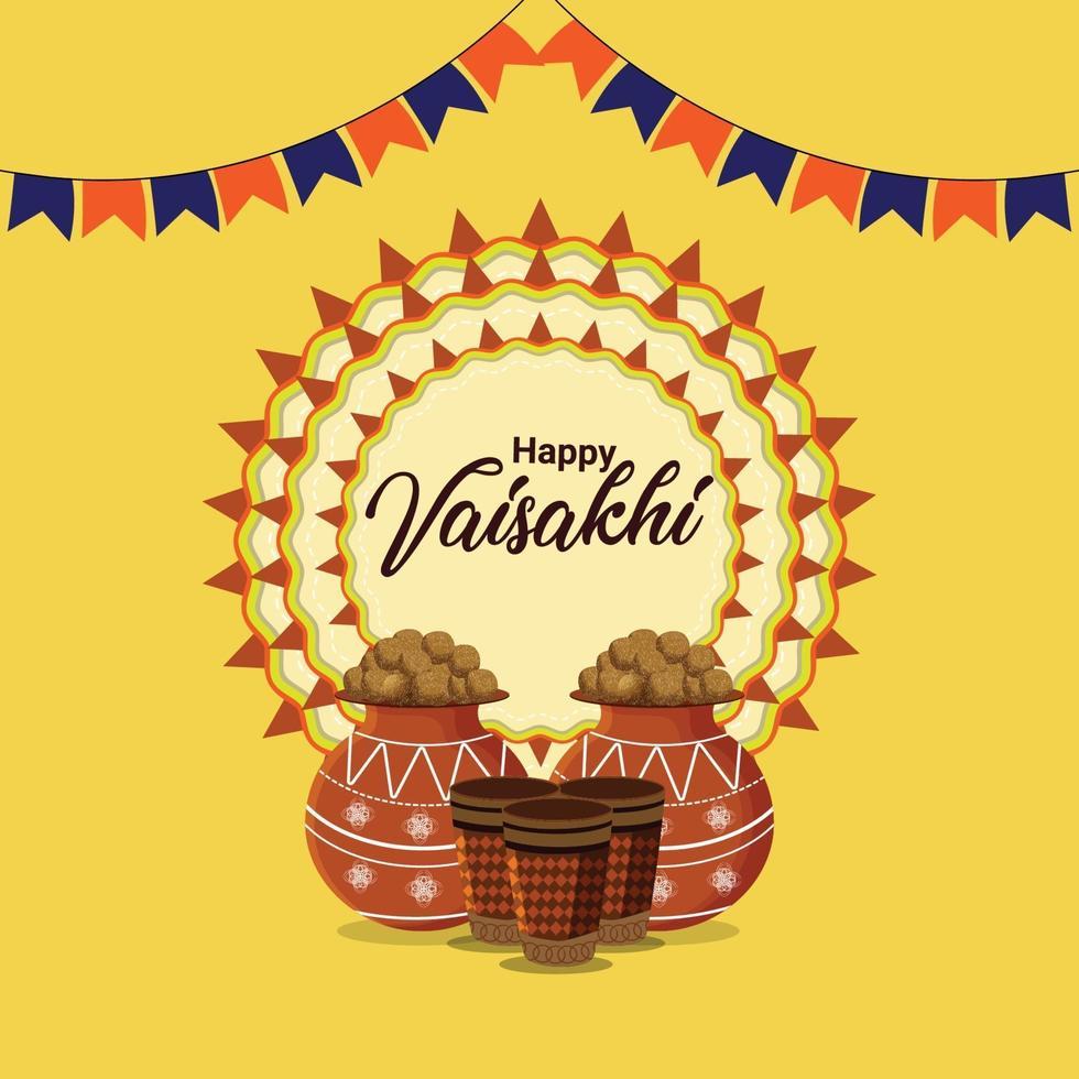 felice celebrazione vaisakhi design piatto con tamburo vettore