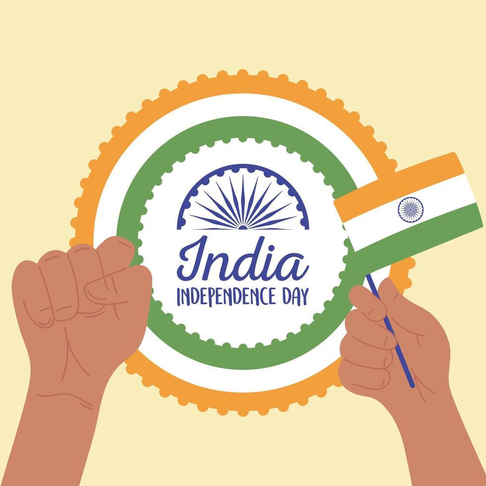 felice giorno dell'indipendenza dell'india con bandiera vettore