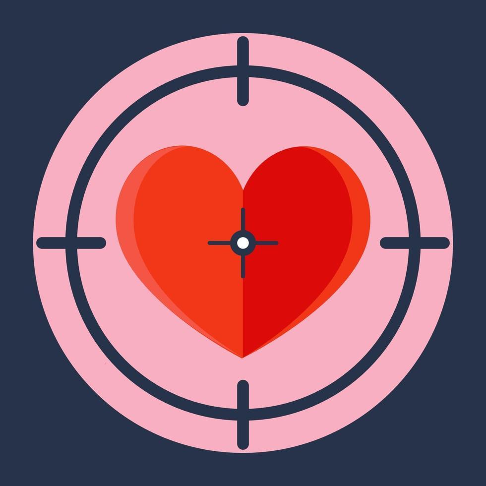 cuore rosso in un ambito da cecchino. vettore