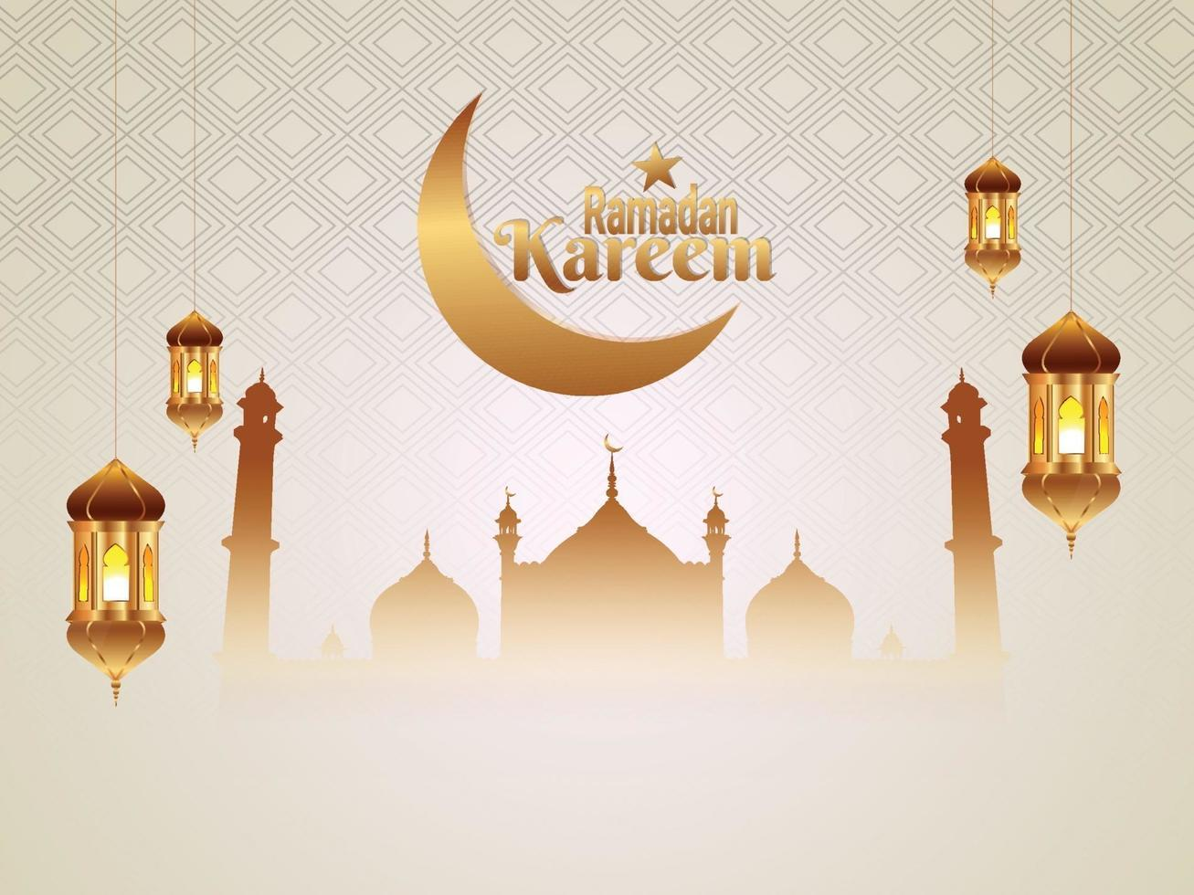 biglietto di auguri islamico piatto sfondo ramadan kareem vettore