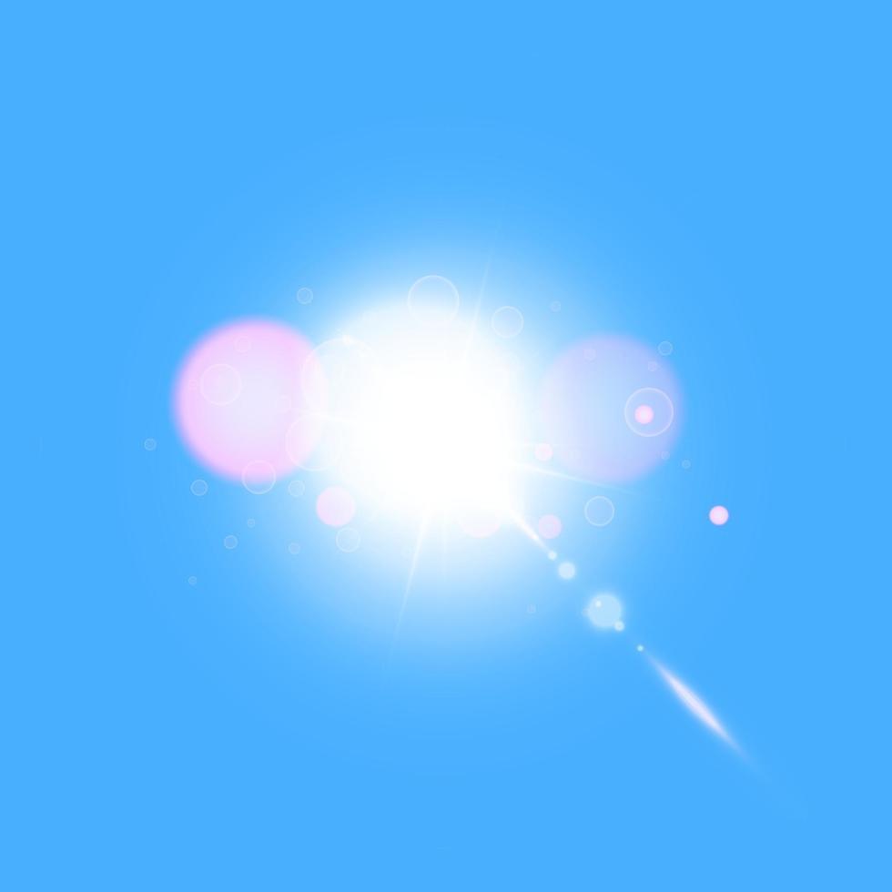 vettore luce solare trasparente lente speciale bagliore effetto luce