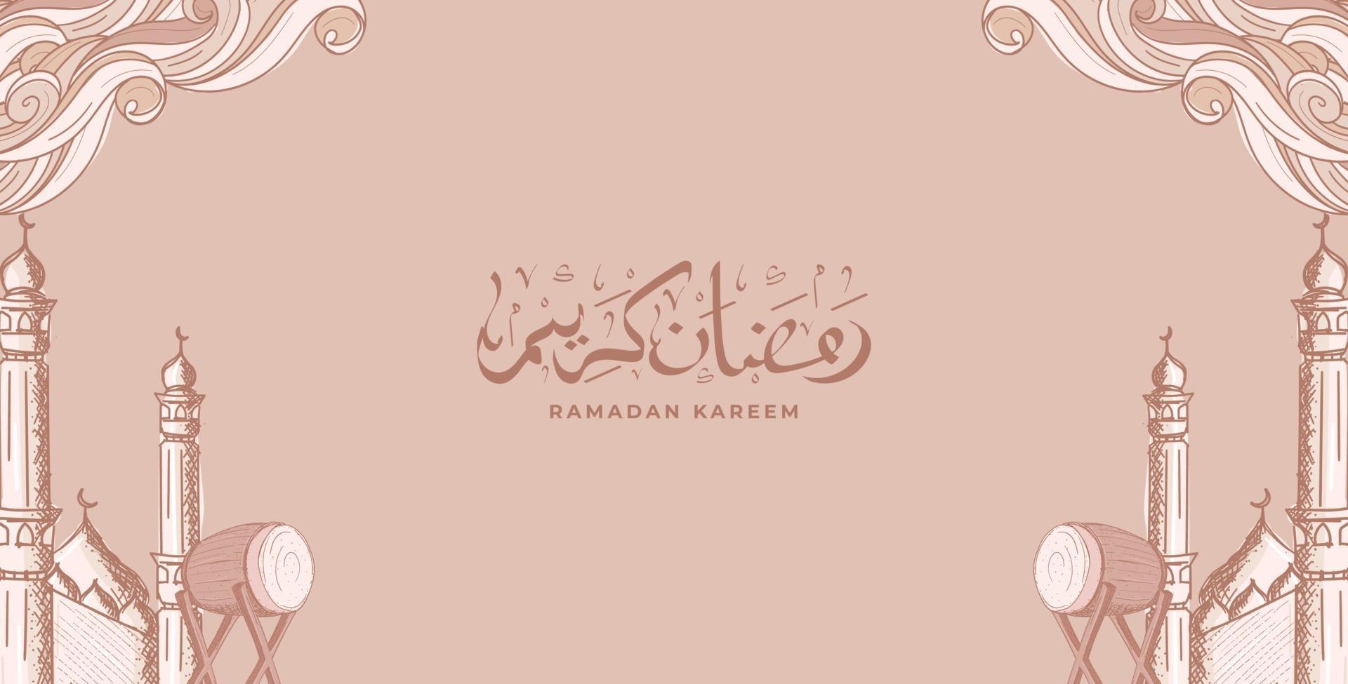 Ramadan Kareem con sfondo di illustrazione ornamento islamico disegnato a mano vettore