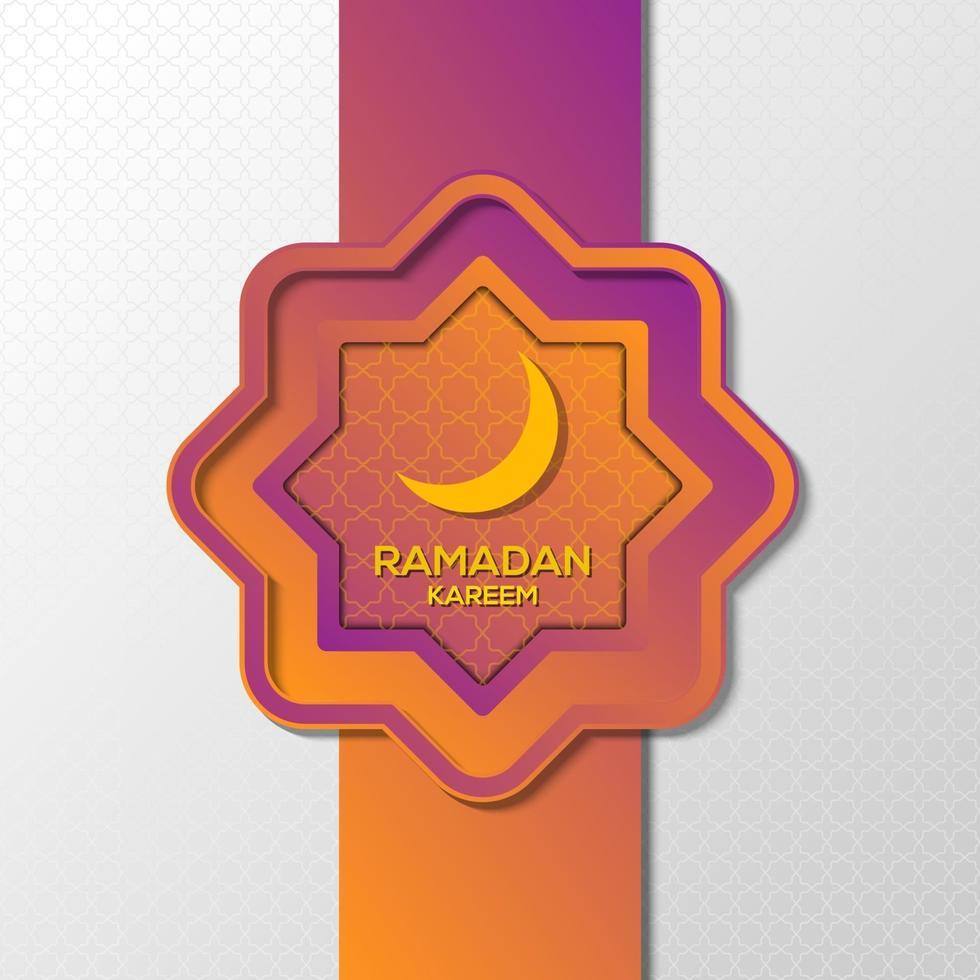 ramadan kareem ornamento viola sfondo design vettore
