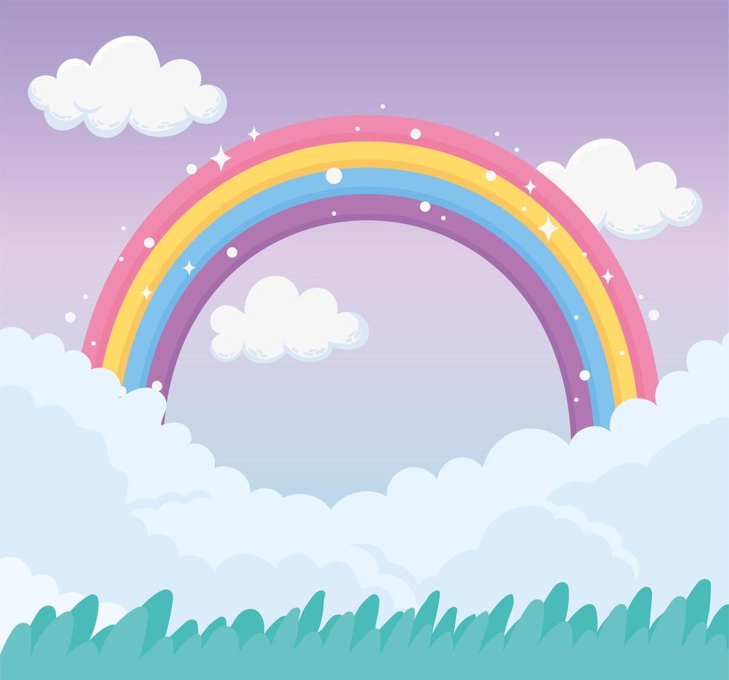 cielo di cartone animato con arcobaleno vettore
