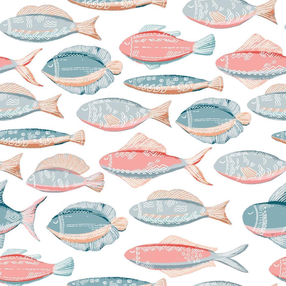 pesce rosa blu vettore