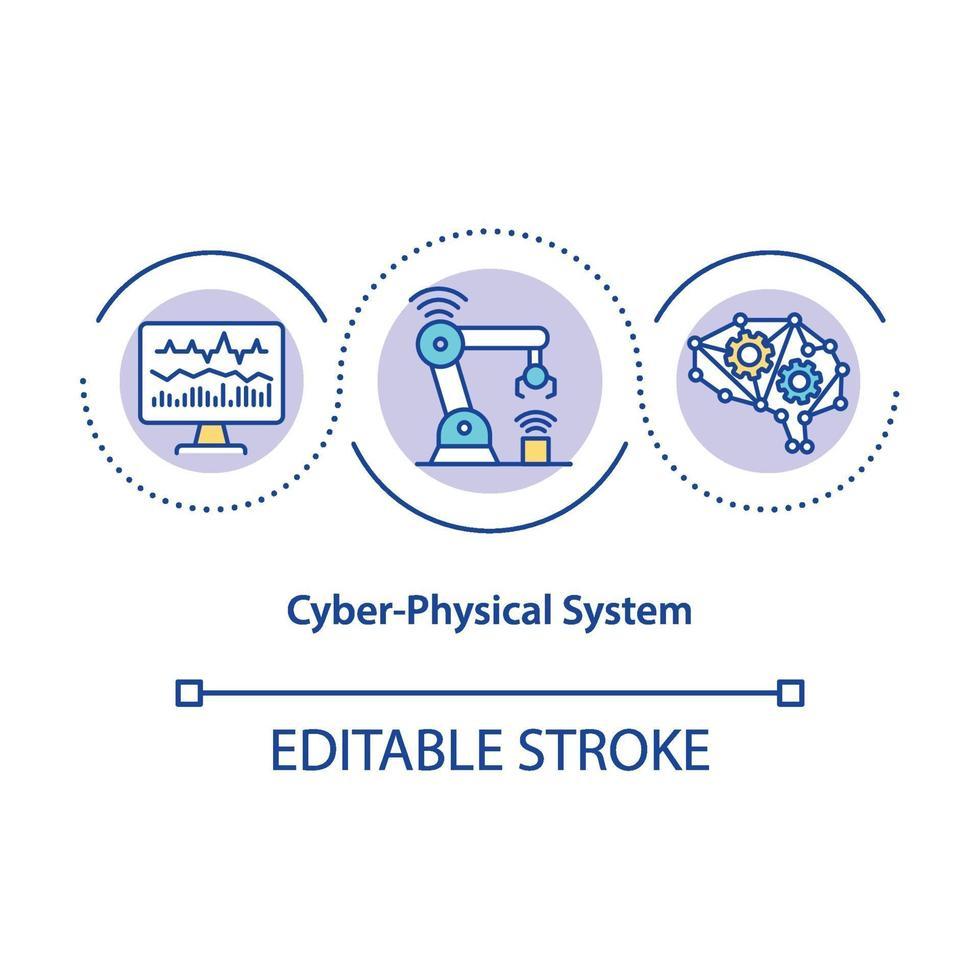 icona del concetto di sistema cyber-fisico vettore