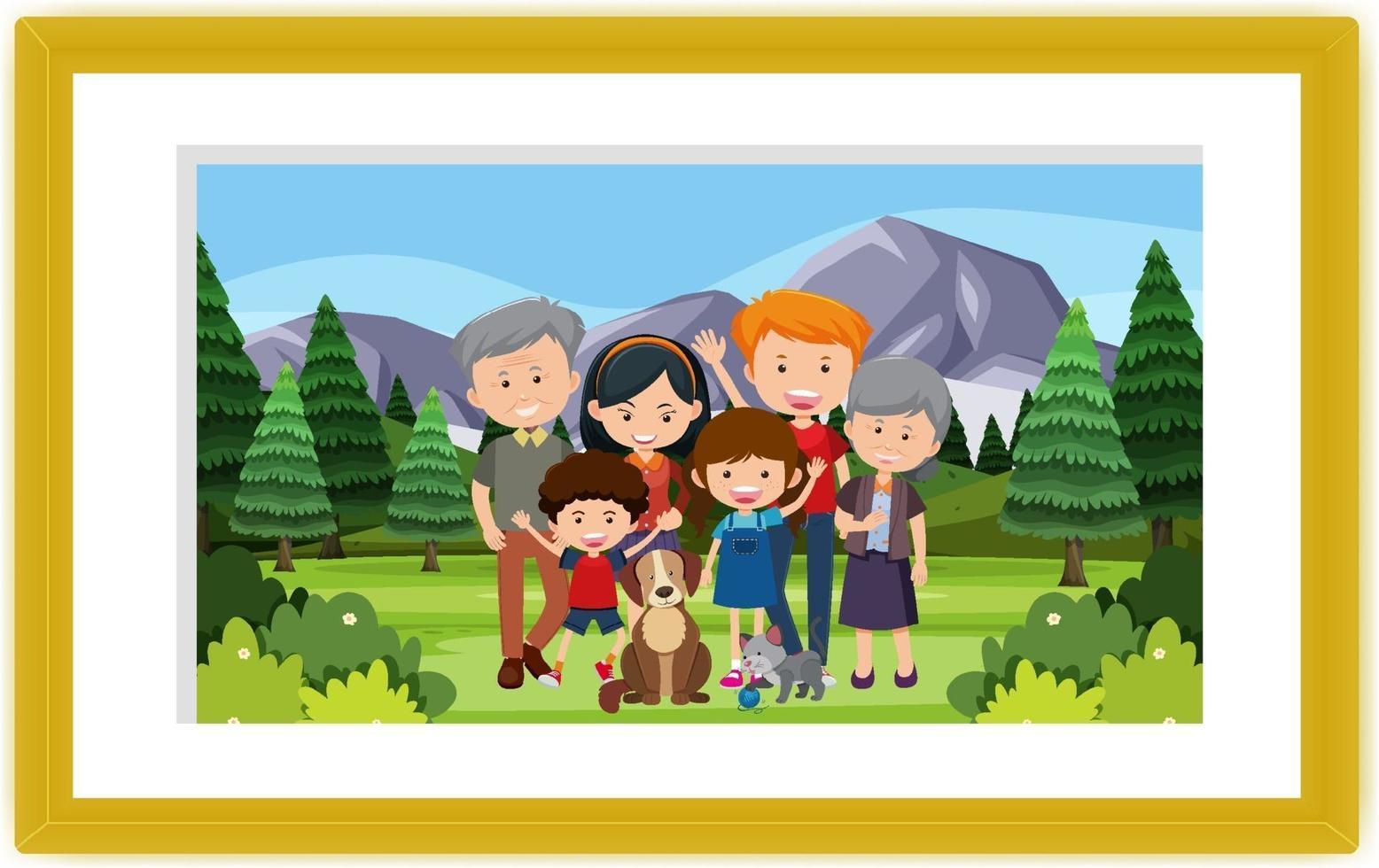 una foto di famiglia alla scena del parco all'aperto vettore