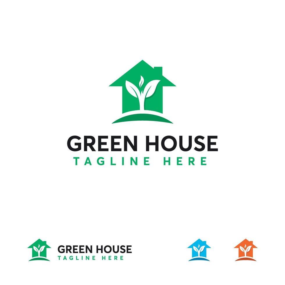 concetto di design del logo della casa della natura, simbolo del logo della casa fresca, logo della costruzione vettore