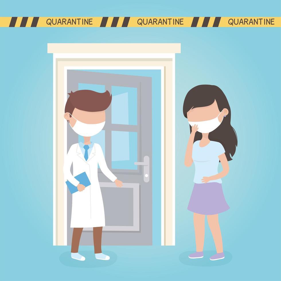 medico e paziente con maschere facciali per il coronavirus vettore