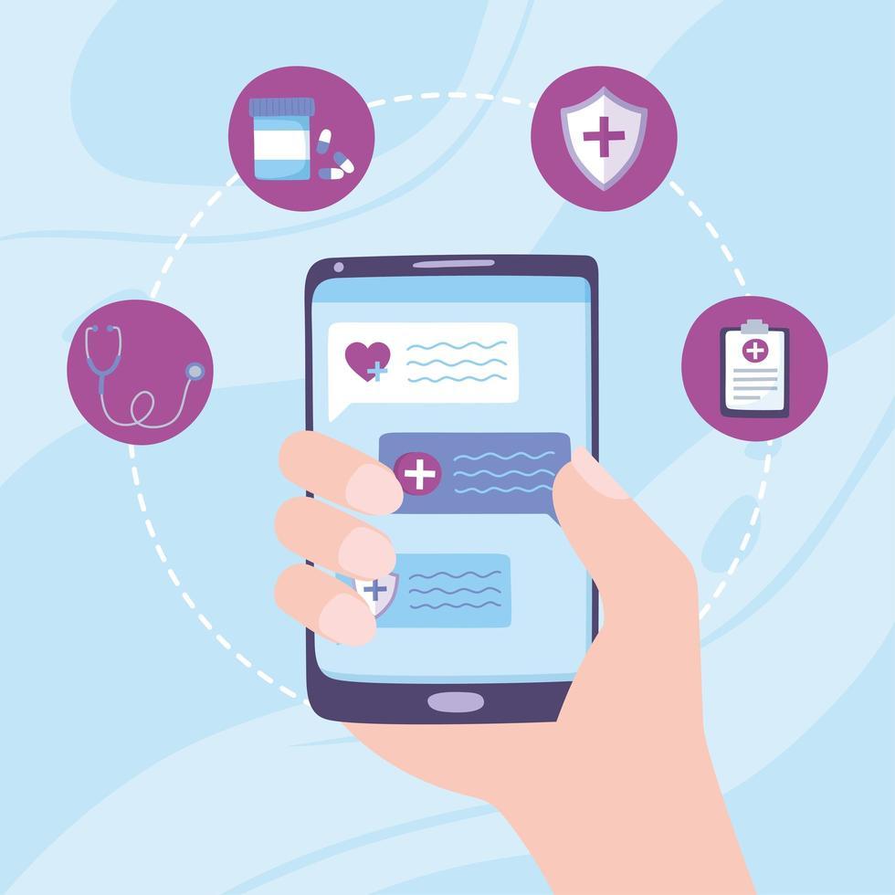 concetto di telemedicina con mano che fora uno smartphone vettore