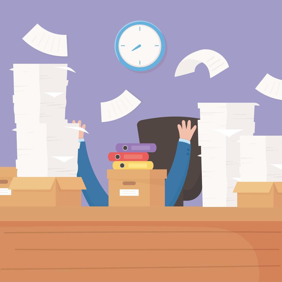 uomo d'affari stressato, frustrazione lavoro d'ufficio e stress vettore