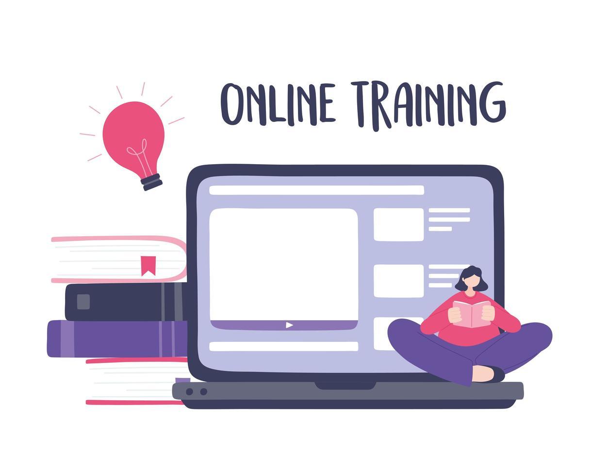 formazione online con ragazza che legge un libro sul contenuto del laptop vettore