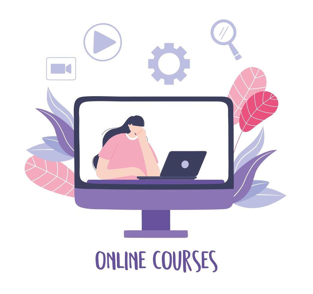 corso online con una donna in una lezione video vettore