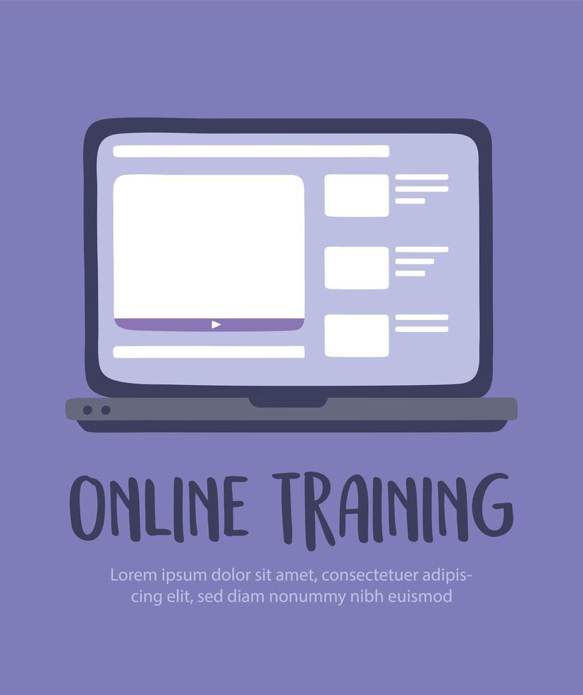 modello di banner di formazione online con laptop vettore