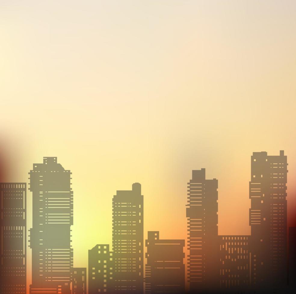 paesaggio urbano silhouette su uno sfondo colorato del tramonto e dell'alba vettore