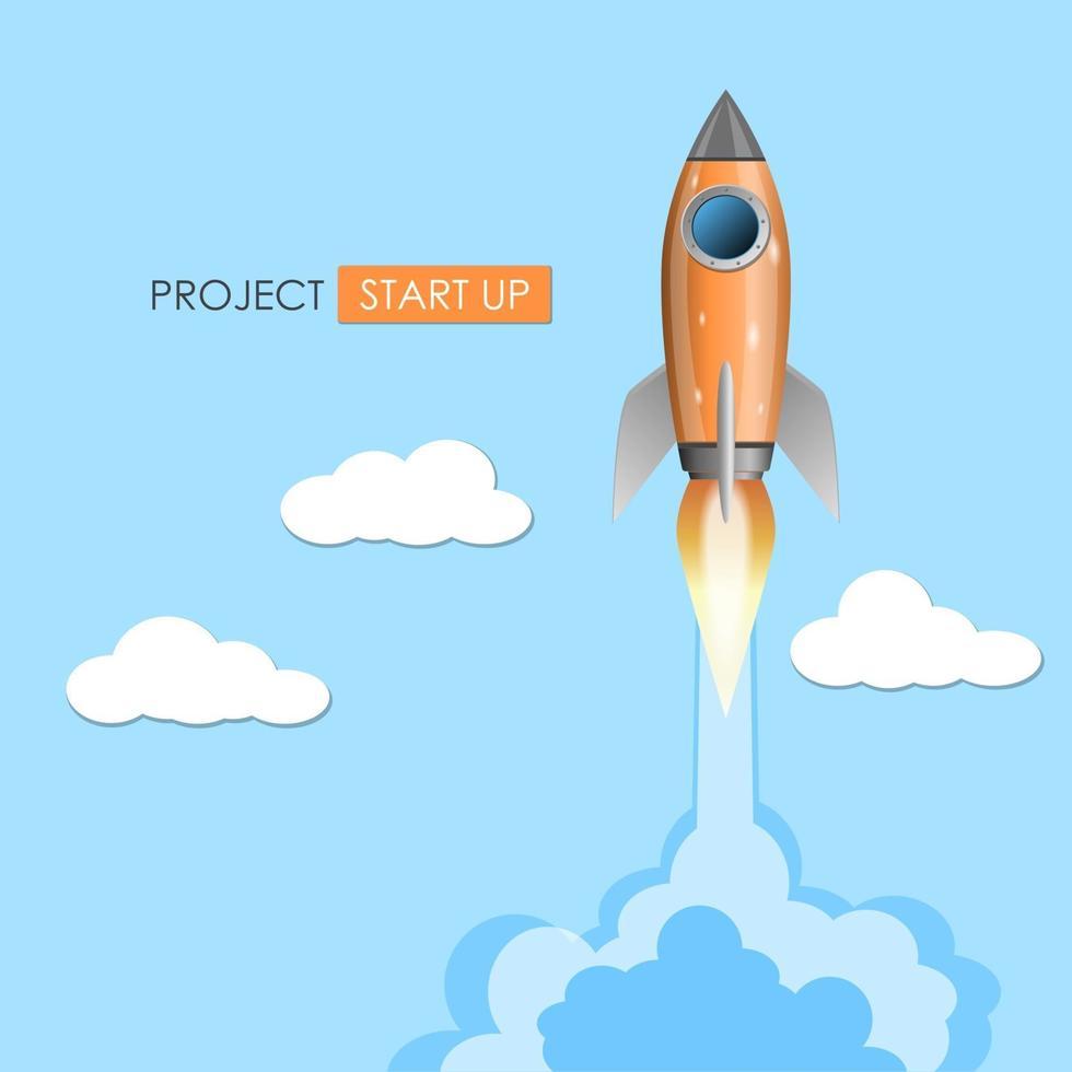 lancio di un razzo, concetto di avvio del progetto, illustrazione vettoriale