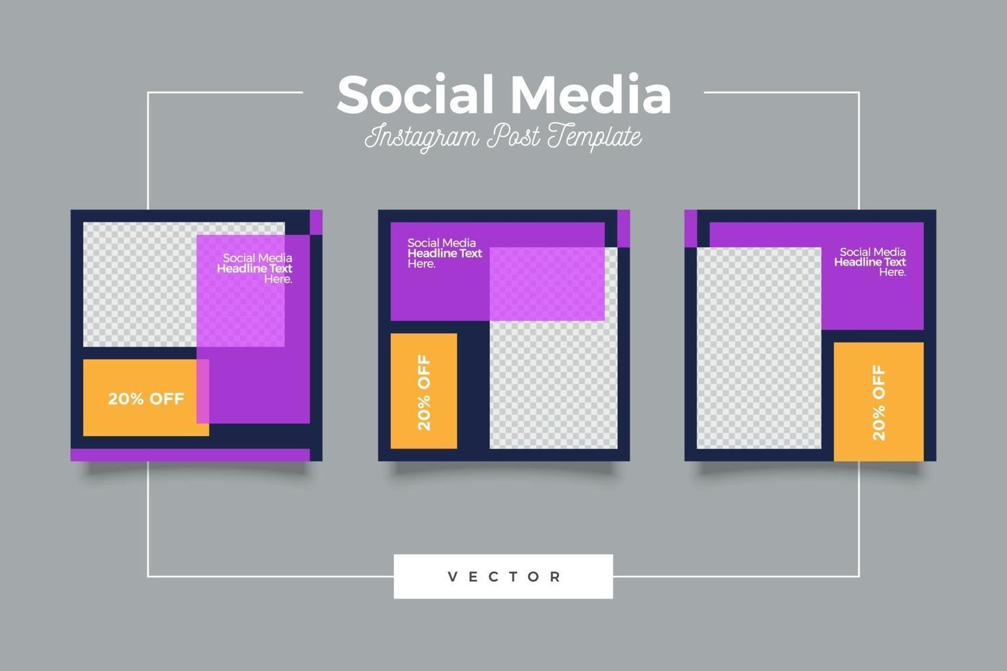 set di banner post social media agenzia di marketing vettore