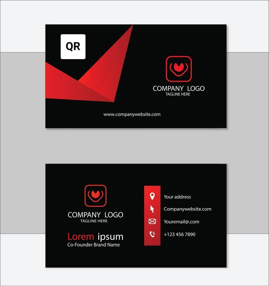 modello di progettazione biglietto da visita geometrico rosso e nero vettore