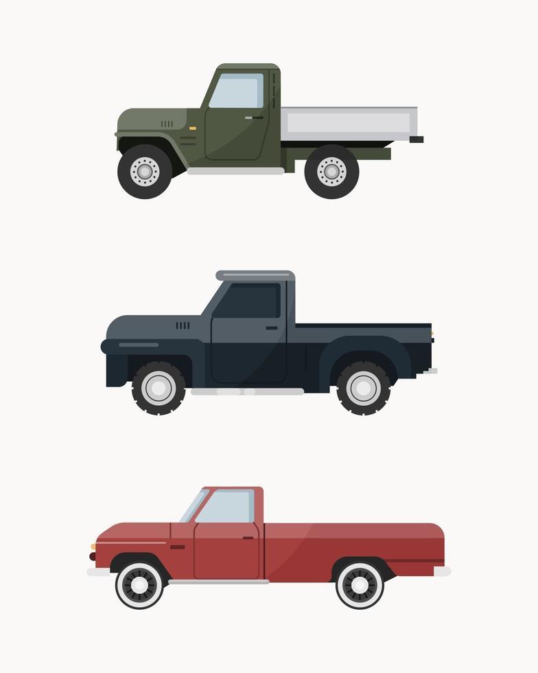 camioncini d'epoca. set di illustrazione vettoriale di camioncini.