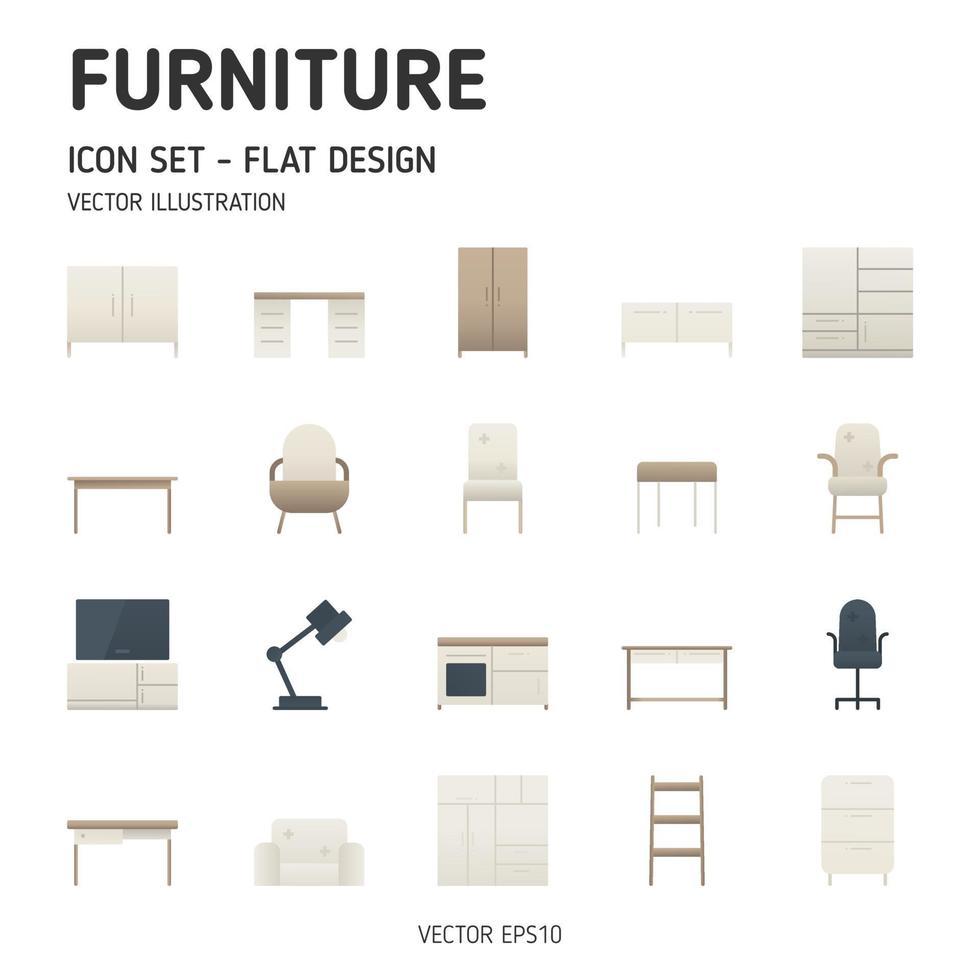 icone di mobili moderni. semplice set di mobili set di icone piatte. stile di design piatto. icona del vettore. vettore