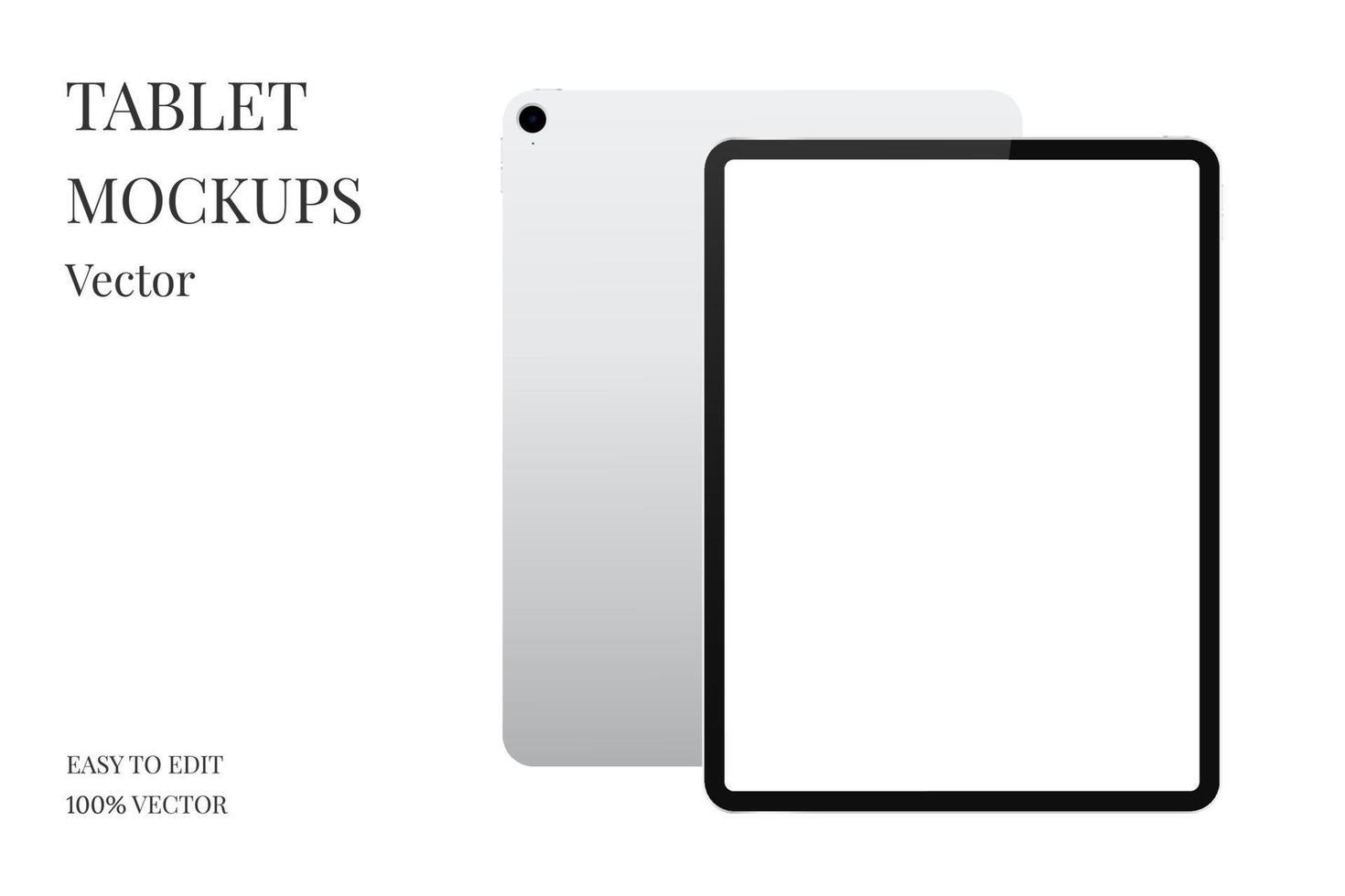 vettore di mockup di tablet. tablet moderno con schermo vuoto. computer tablet realistico isolato su sfondo bianco.