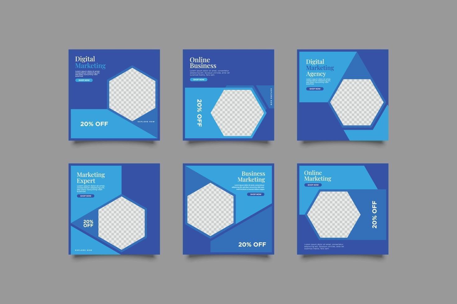 pacchetto di post sui social media blu moderno minimalista vettore