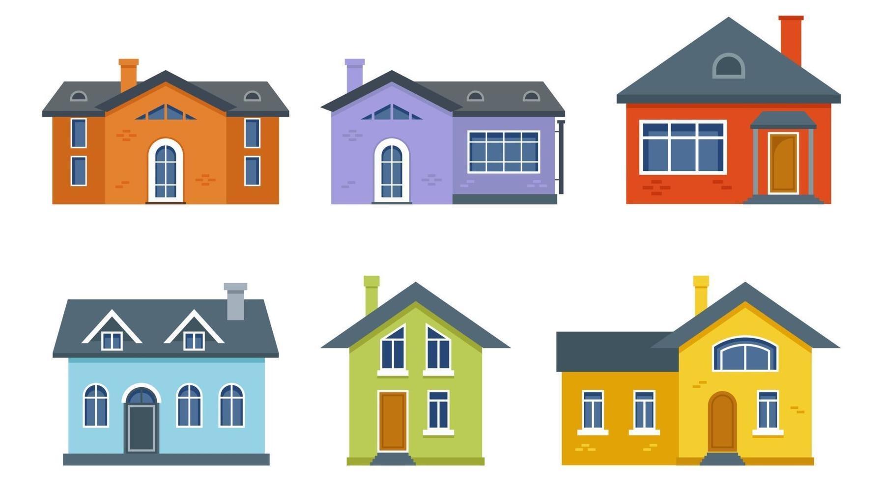 collezione di edifici residenziali a due piani vettore