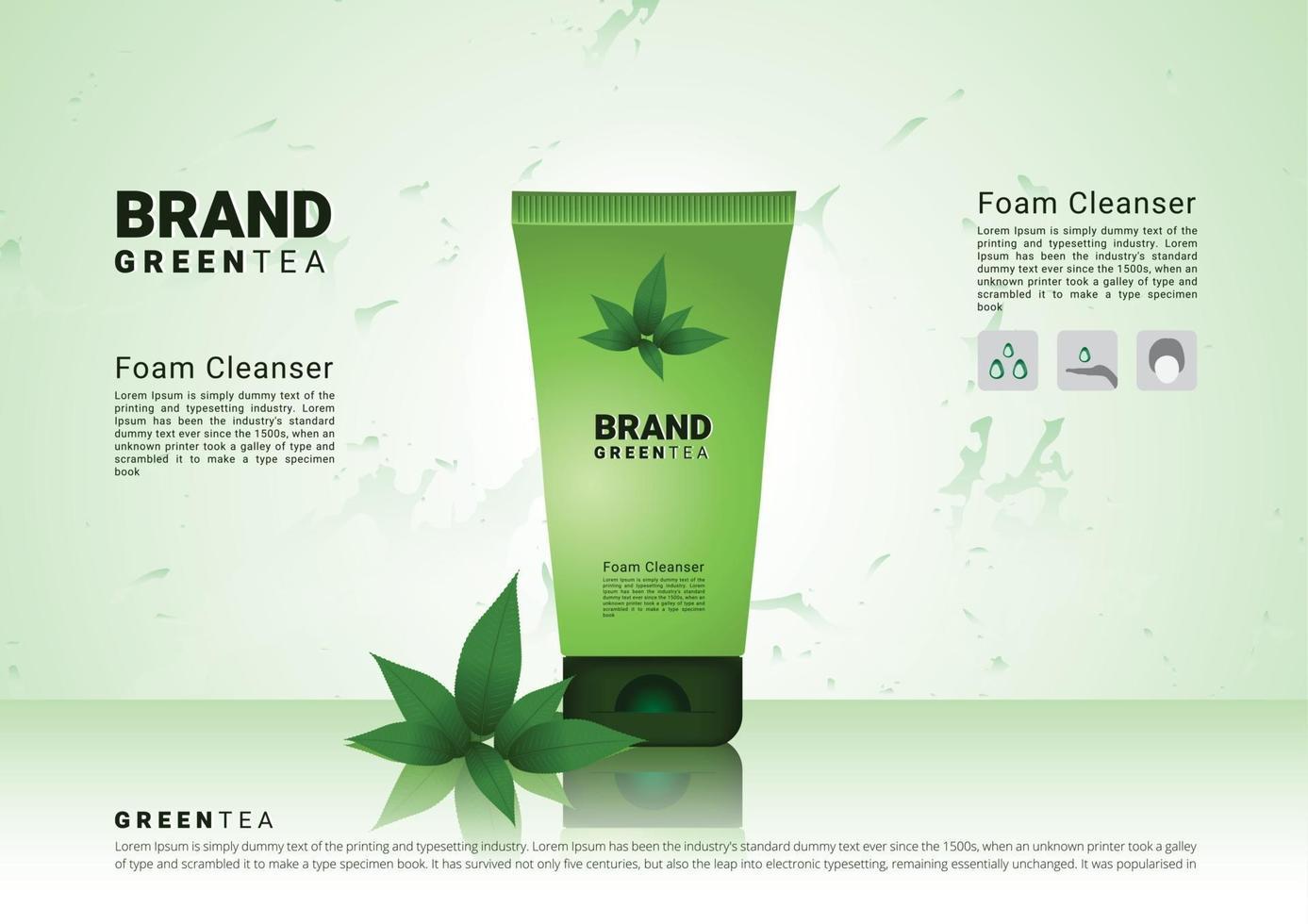 schiuma detergente al tè verde con sfondo morbido e illustrazione vettoriale di imballaggio 3d