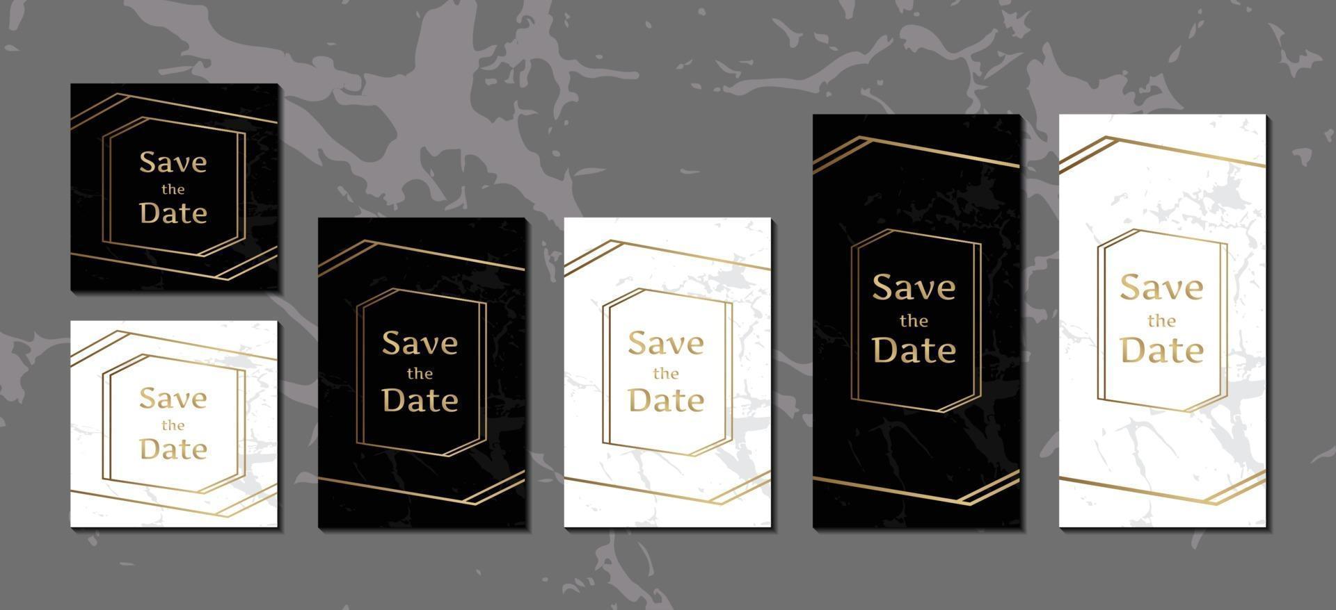 biglietti d'invito di lusso collezione di sfondo in marmo bianco e nero con modello di disegno vettoriale cornice geometrica dorata