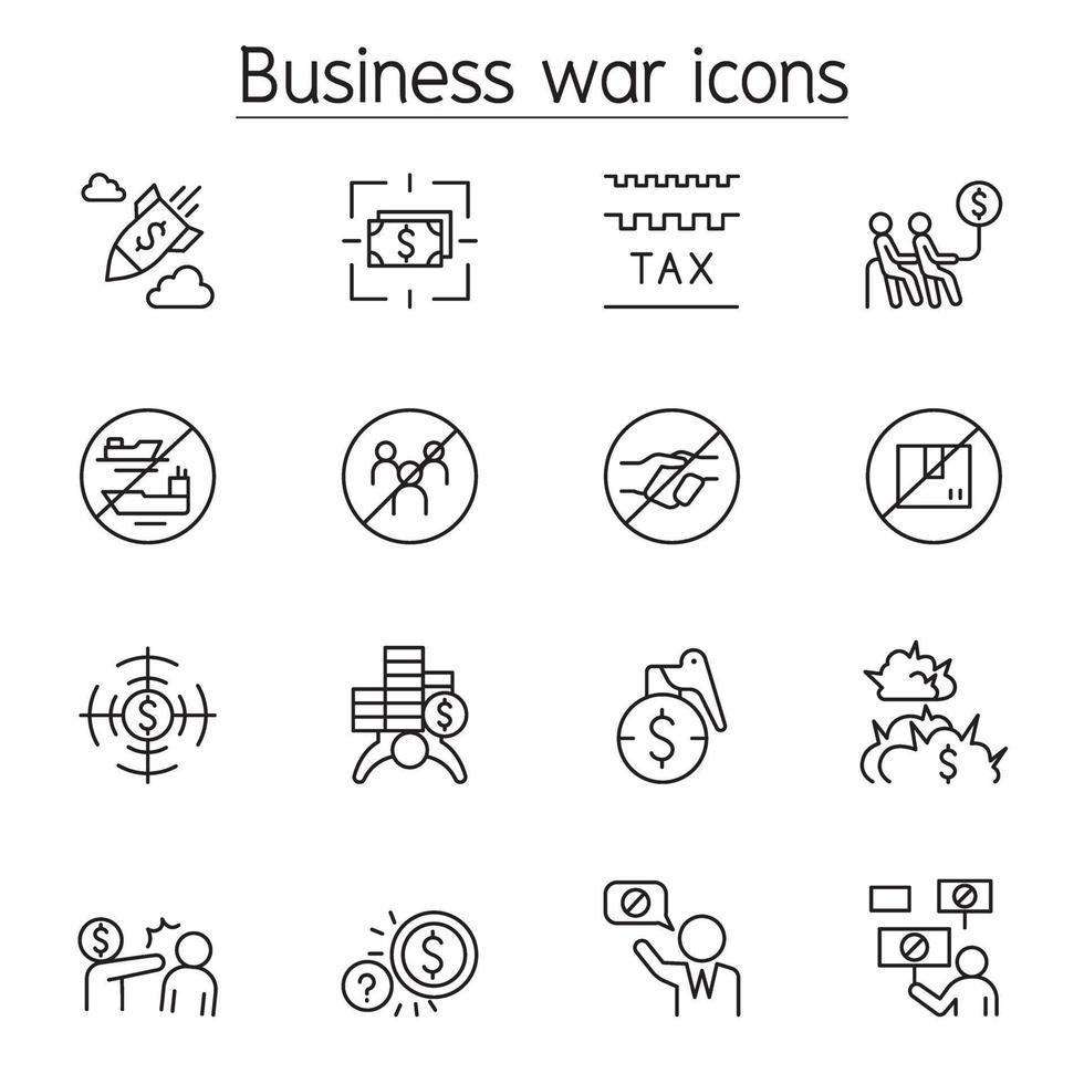 boicottaggio, guerra d'affari, icona di sanzione impostata in stile linea sottile vettore