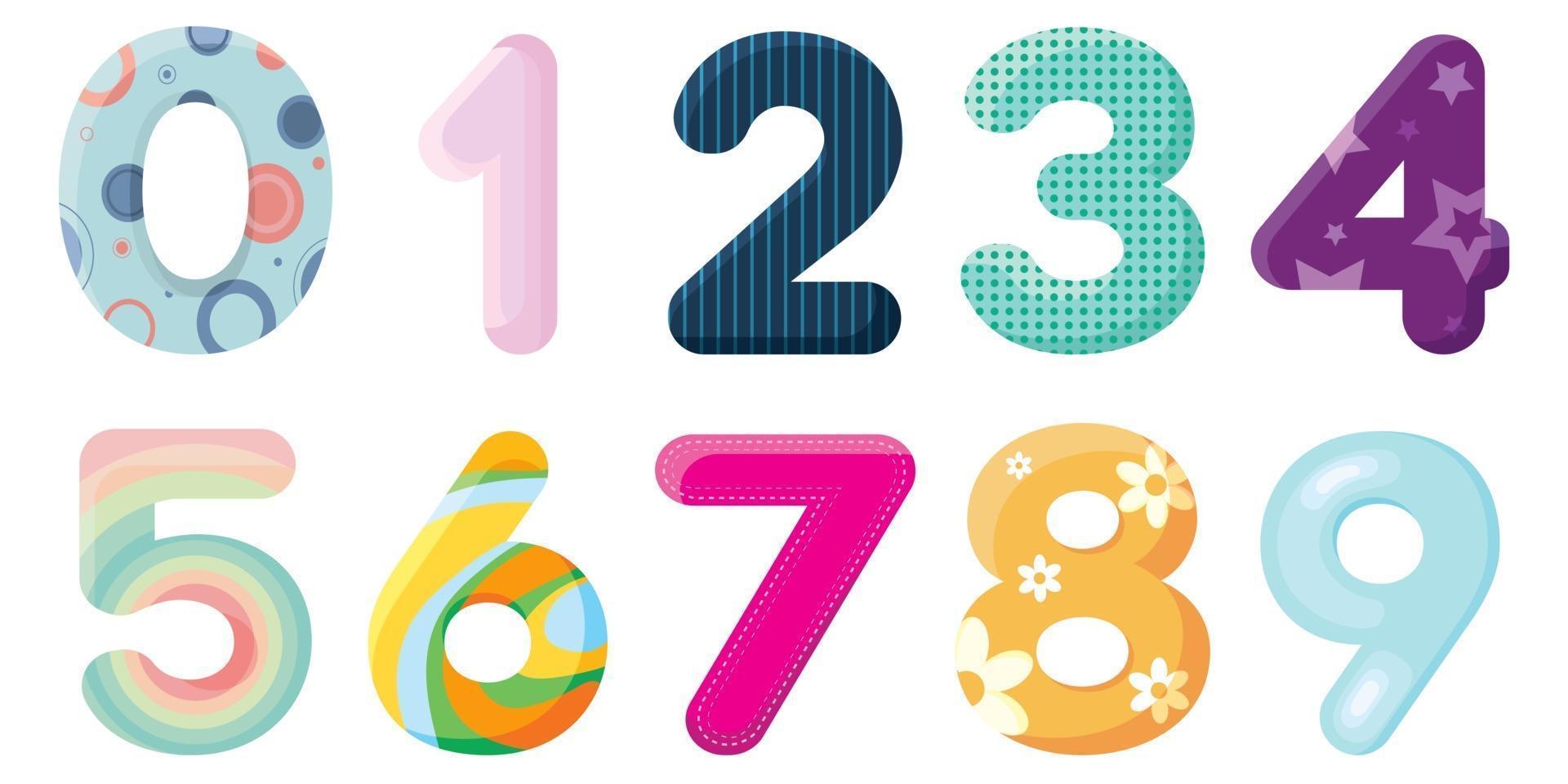 insieme di numeri multicolori per qualsiasi combinazione. vettore