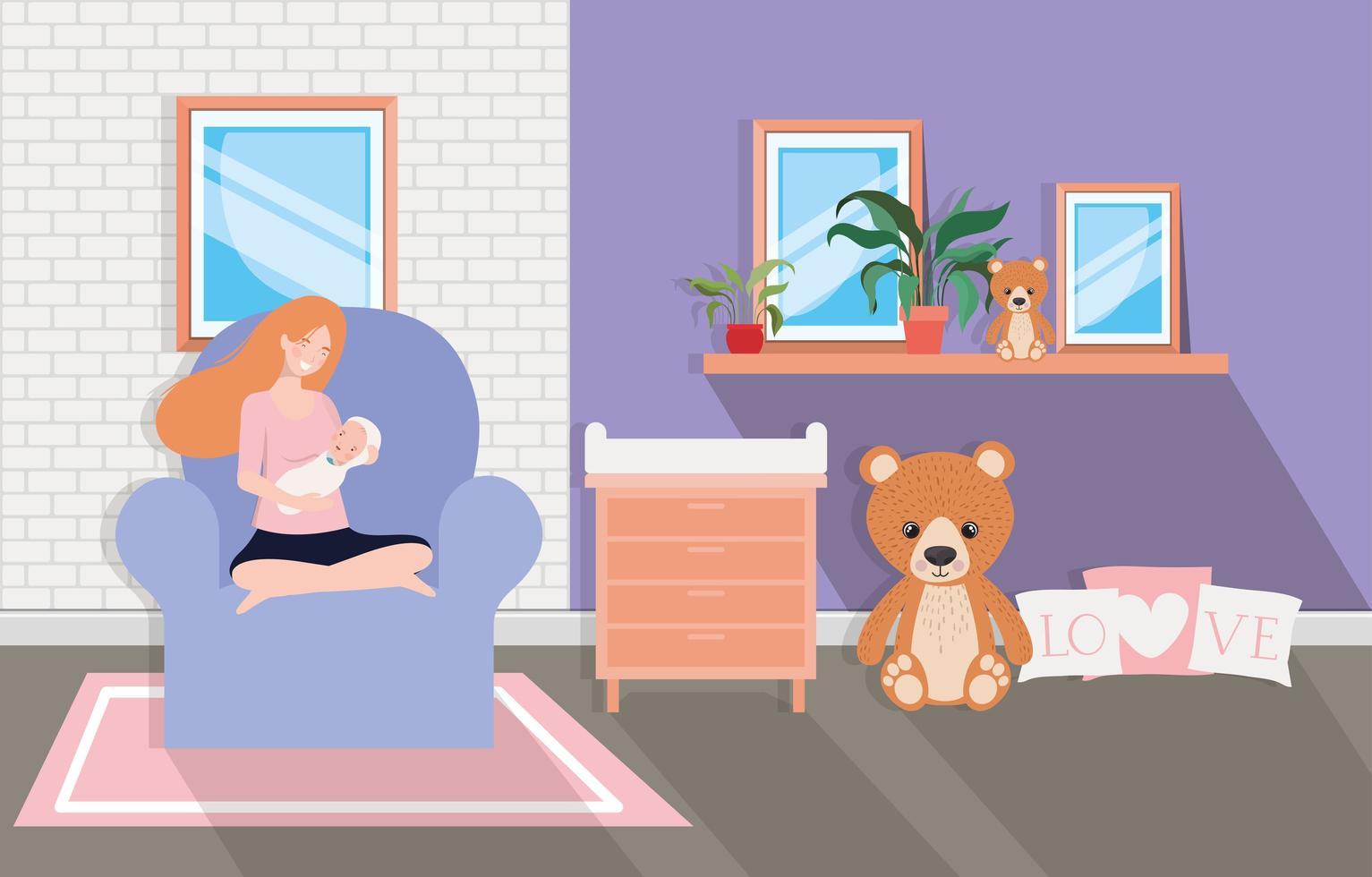 madre che allatta un bambino a casa vettore